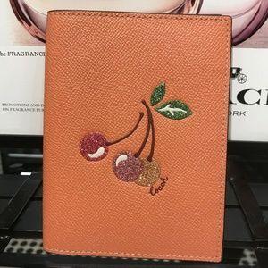 Passport Holder Case W Cherry Light Coral/Gold
